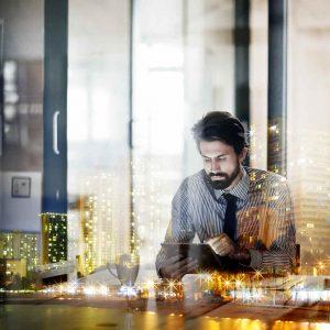 Shot of a businessman using a digital tablet
